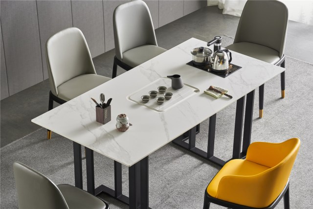 dkf755-china modern luxury home furniture metal slate mable top kitchen dining table supplier manufacturer factory company-furbyme (1)