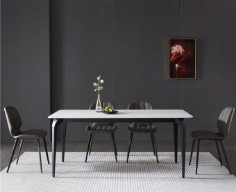 dkf768-china modern luxury home furniture metal slate mable top kitchen dining table supplier manufacturer factory company-furbyme (6)