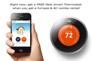 Right now, get a FREE Nest Smart Thermostat when you get a furnace & AC combo rental!
