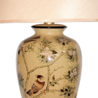 Oriental Table Lamp with Birds and Blossom | Table and ...