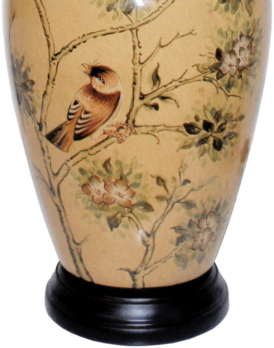 kitchen containers 3 piece table oriental lamp with birds and blossom | ...