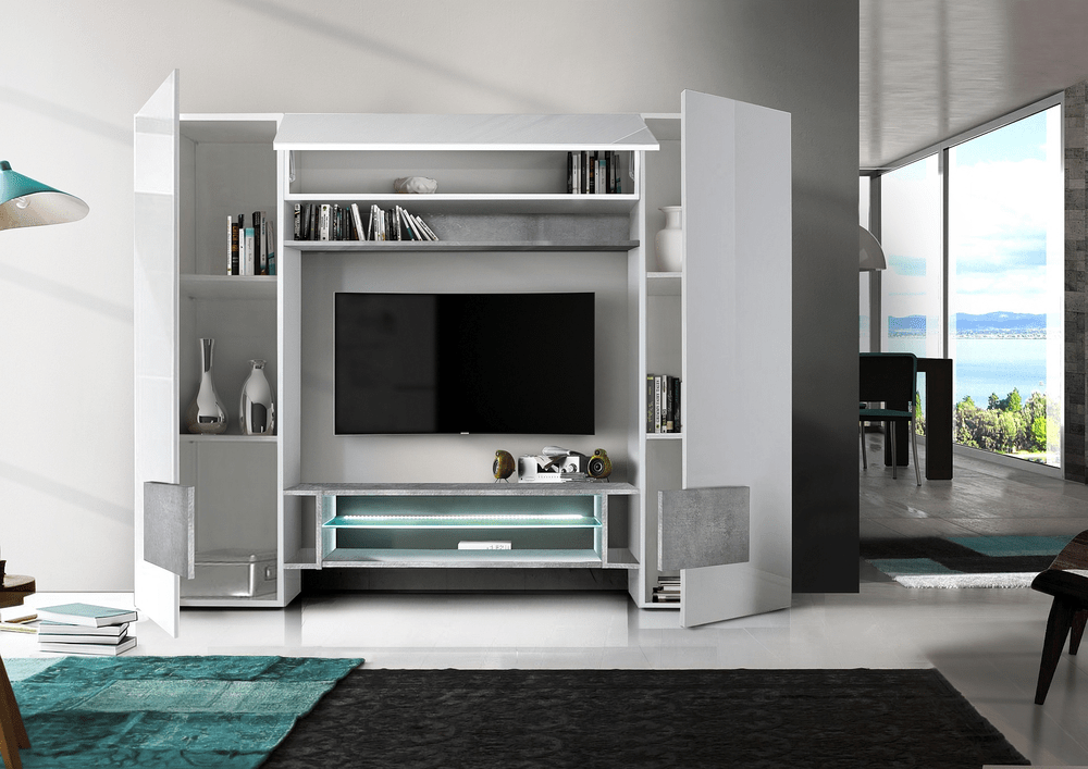 Sorriso Wall Unit White Gloss with GreyBlackNatural and