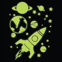 Glow in the Dark Rocket, Planets and Stars Wall Stickers ...