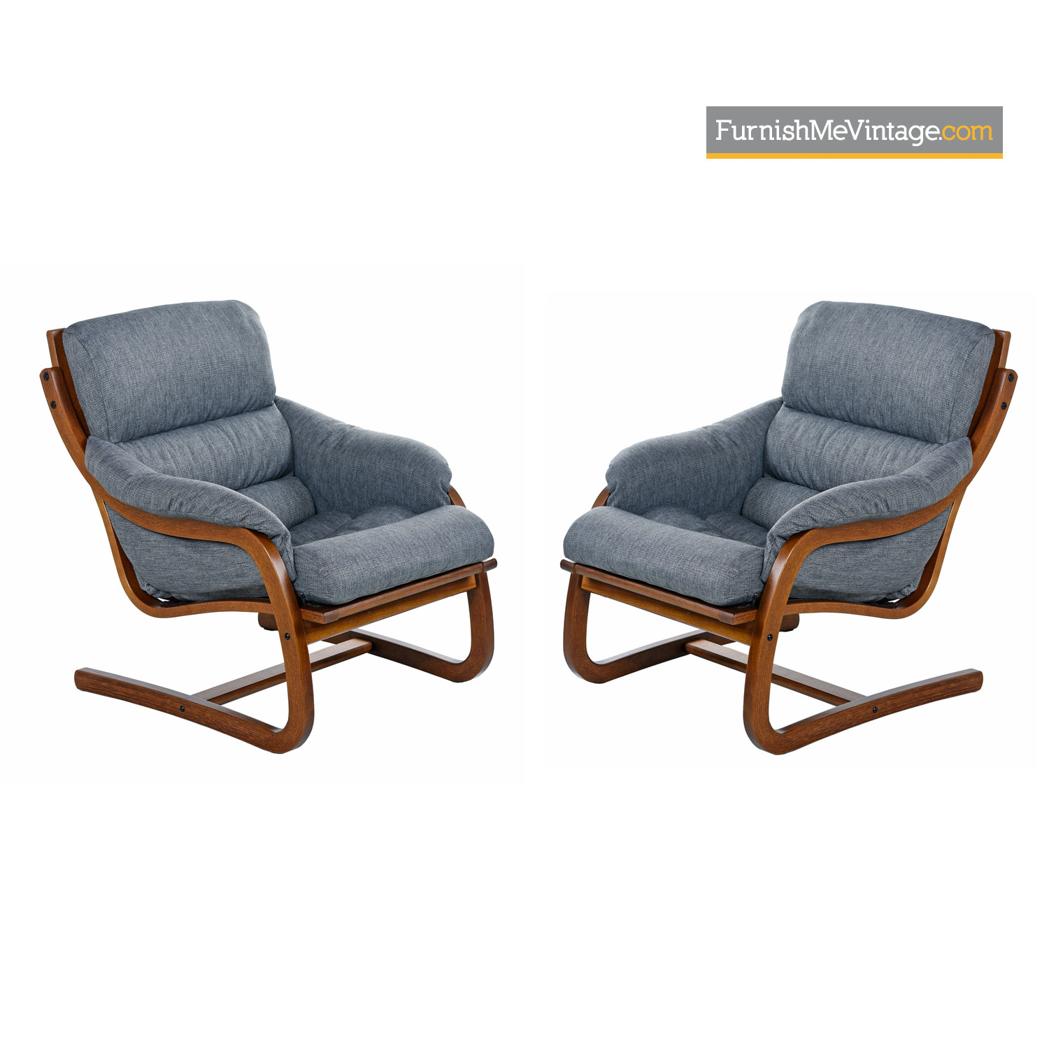 Danish Modern Lounge Chair Danish Bent Teak Cantilever Lounge Chair Set By Stouby Polster