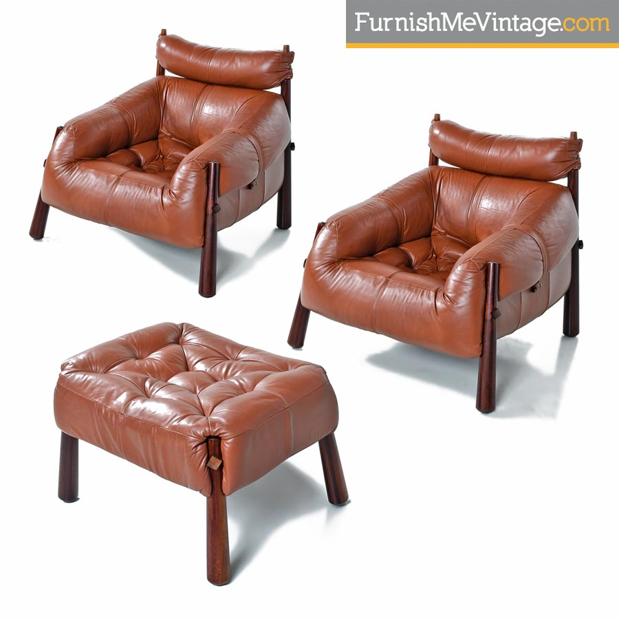 Leather Chairs With Ottoman Percival Lafer Mp 81 Brazilian Rosewood Leather Lounge Chairs