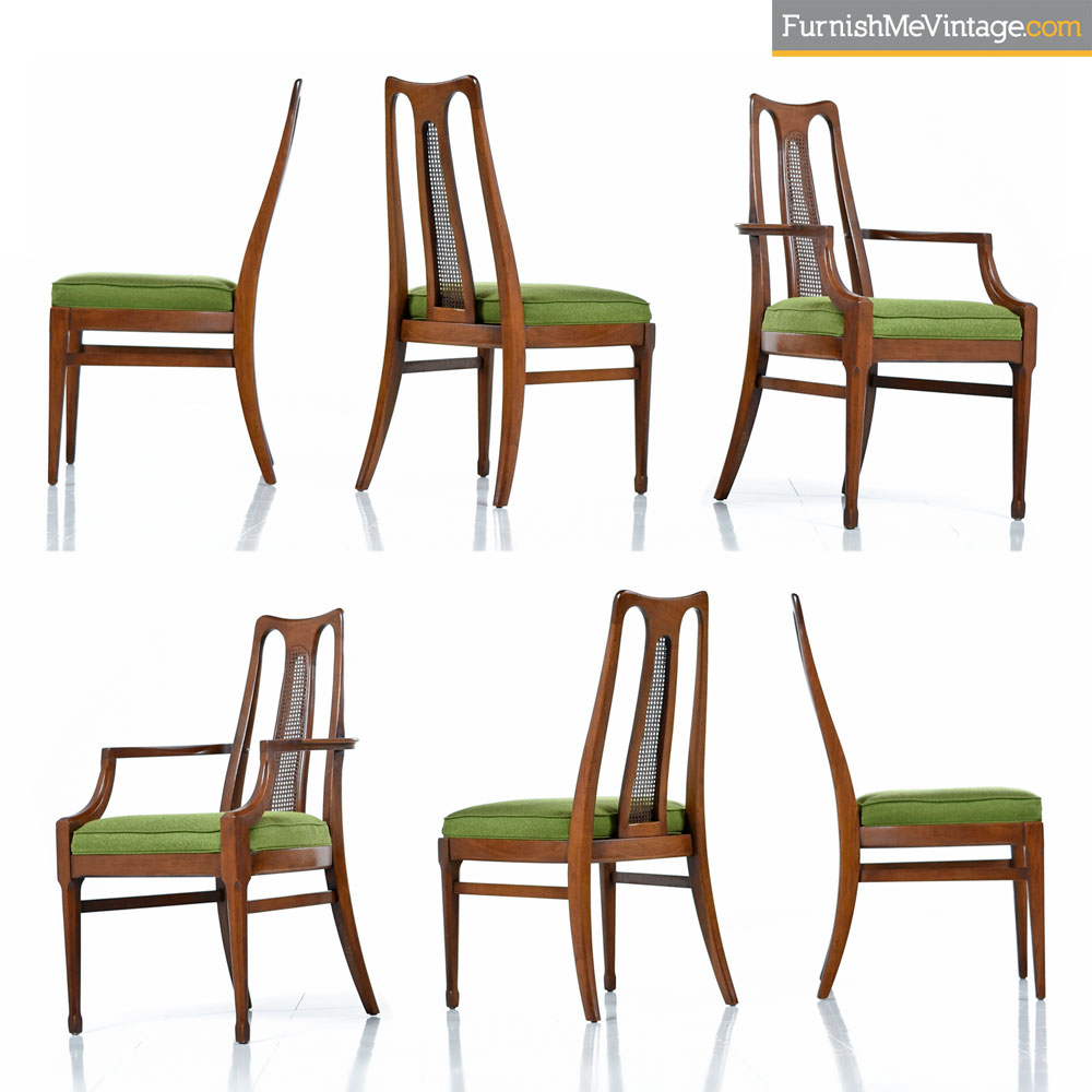 Walnut Dining Chair Six Mid Century Walnut High Back Cane Dining Chairs With New Nubby Green Fabric