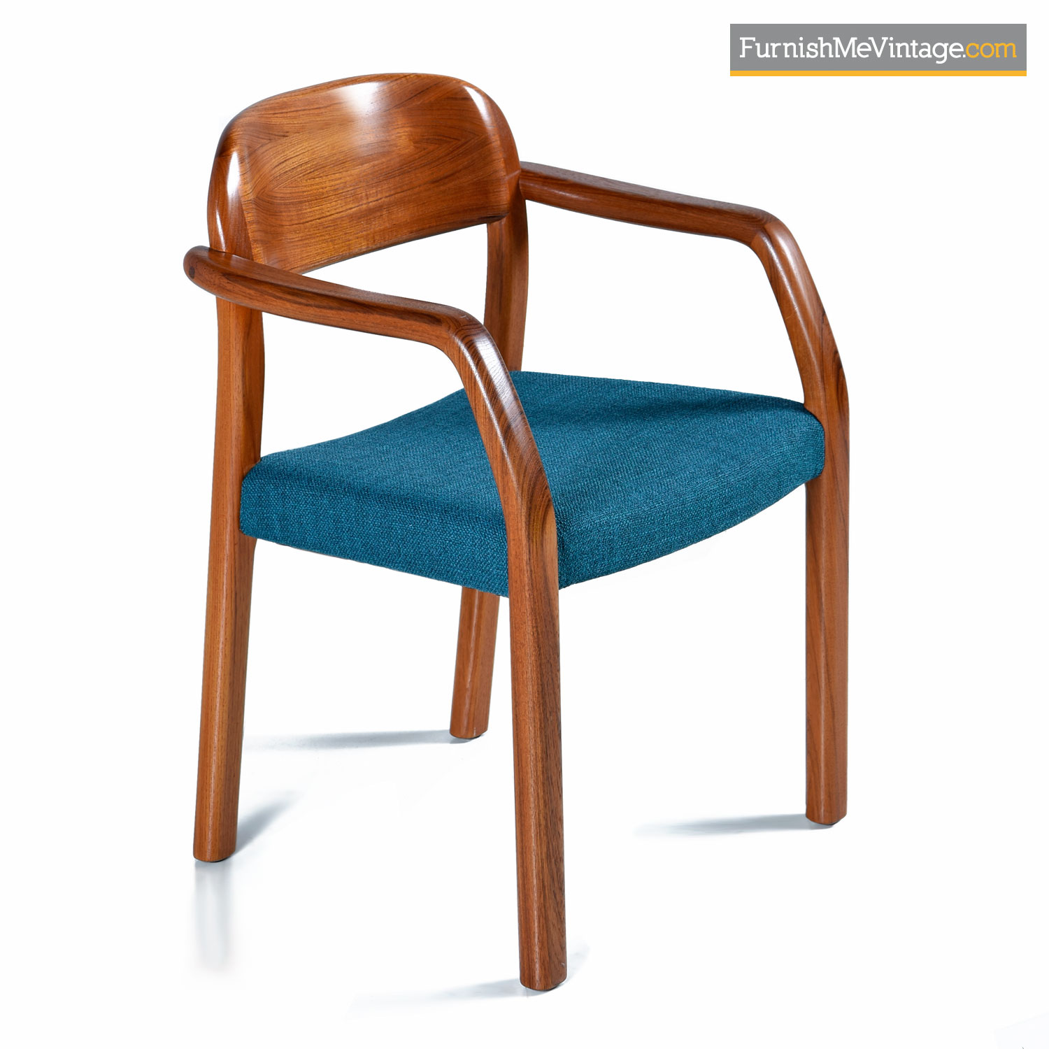 Danish Chair 1970s Solid Teak Danish Modern Armchair With New Blue Upholstery