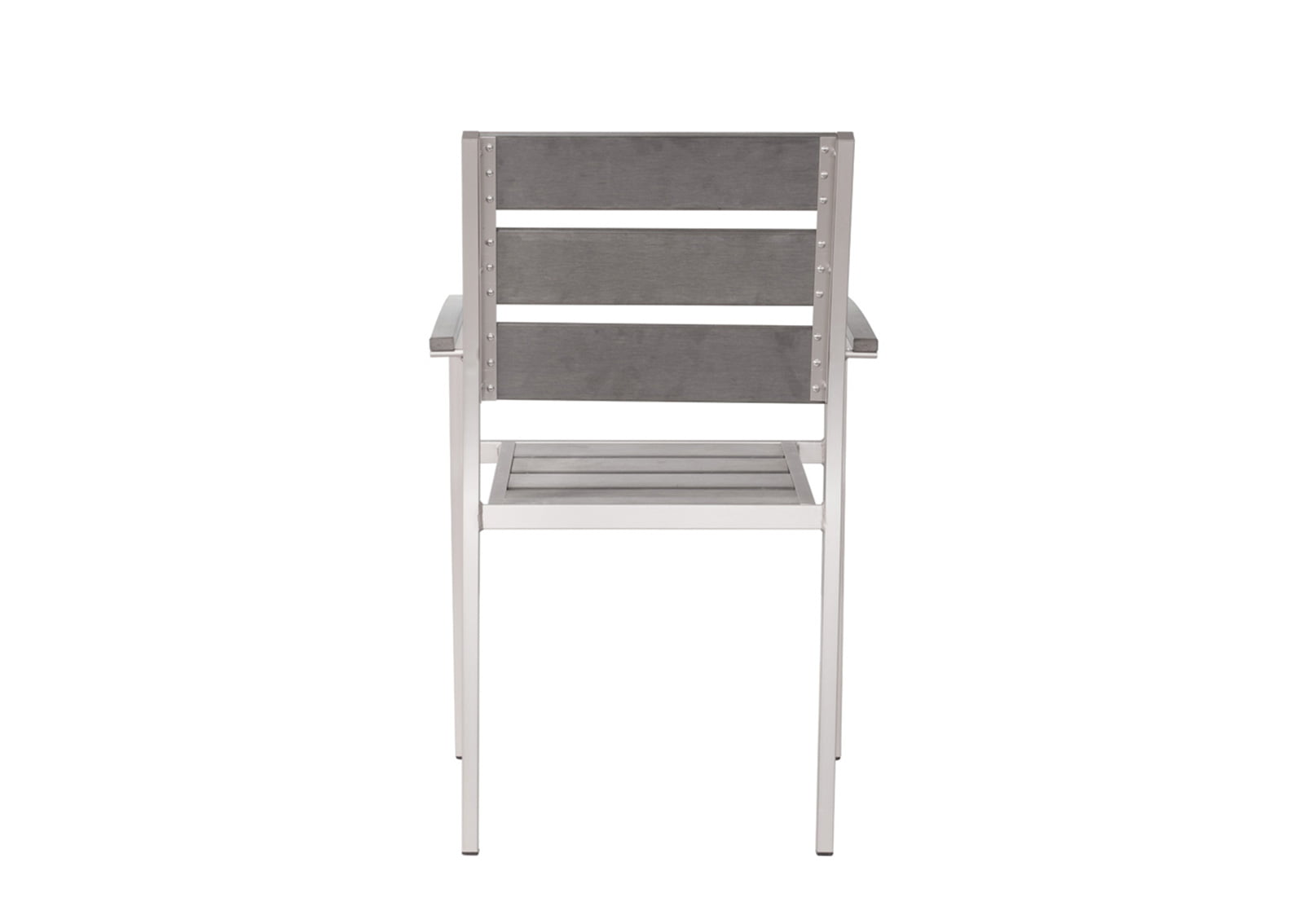 brushed aluminum chairs high chair tray cover metropolitan dining slated arm