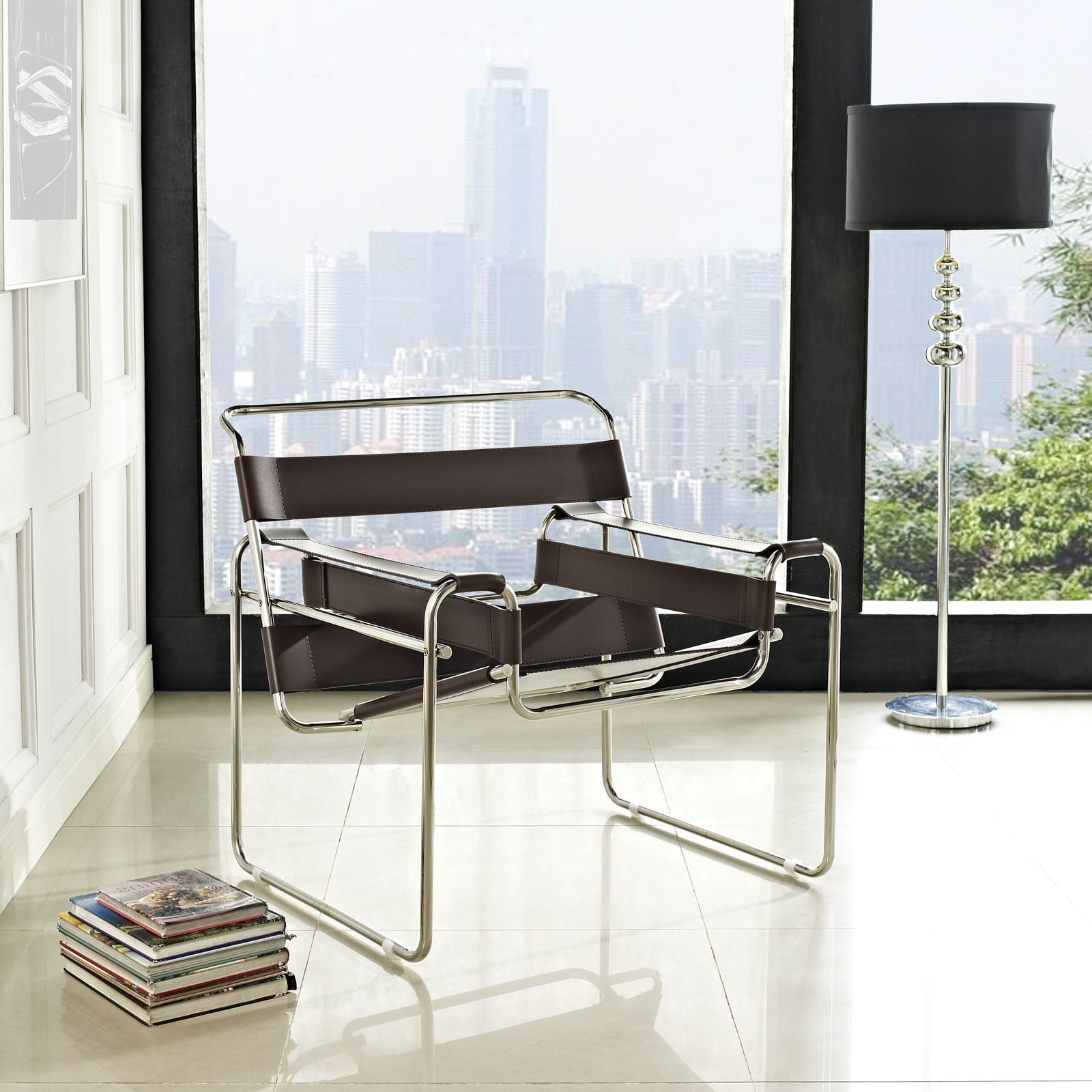 wassily chair brown leather bouncing for babies in india furnishplus