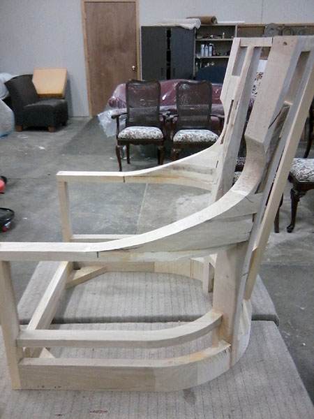 Custom built chair frame