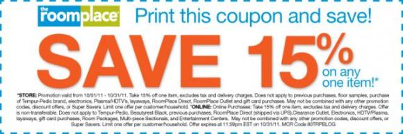 Save 15% on one item coupon