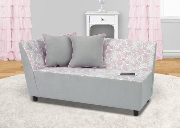 Image: Bloom Gray Tween Chaise Cotton Sofa From The RoomPlace