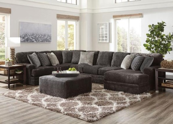 Image: Denali Smoke 3 Pc. Polyester & Microfiber Sectional w/Chaise From The RoomPlace