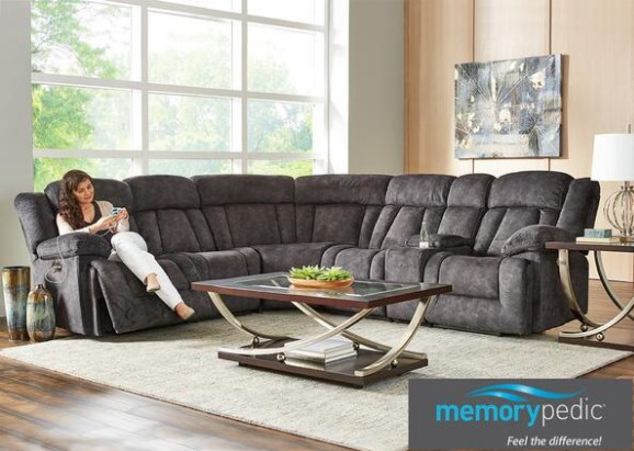 Image: Escalade 6 Piece Power Sectional With Two Armless Chairs From The RoomPlace
