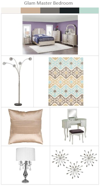 Glam Master Bedroom Furniture & Accessories from The RoomPlace