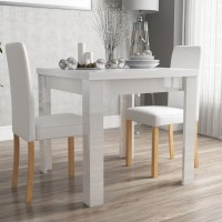 Vivienne FlipTop White Gloss Dining Table + 2 PU Leather ...