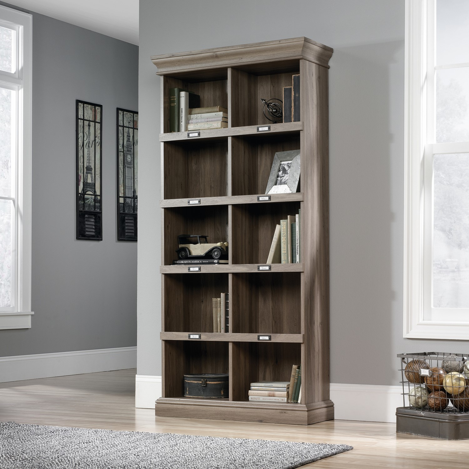 Barrister Tall Bookcase With Metal Framed Label Slots