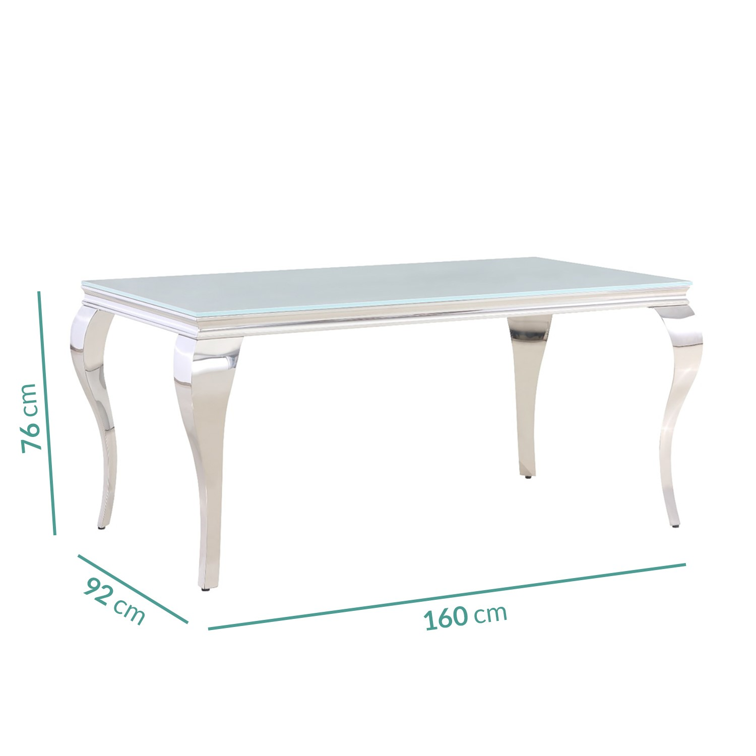 jade boutique mirrored dining table with white glass seats 6 160cm