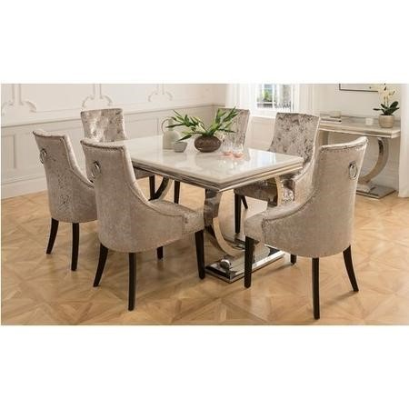 arianna rectangle cream marble dining table 180cm vida living