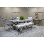 Arianna Grey Marble Dining Table 200cm Vida Living Seats 8 Furniture123