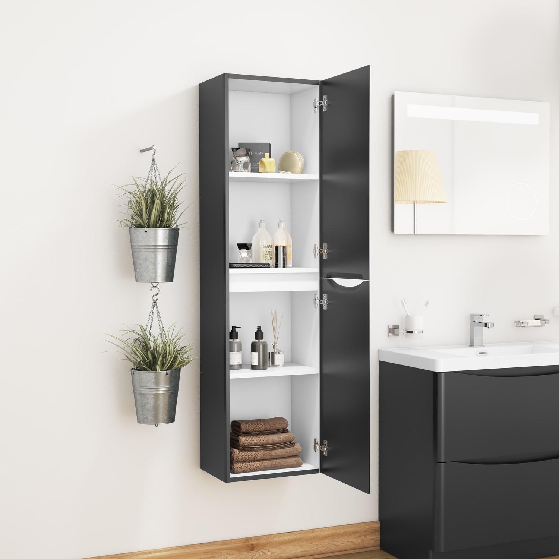 Black Wall Hung Tall Bathroom Storage Cabinet W400 X H1500mm Oakland Furniture123