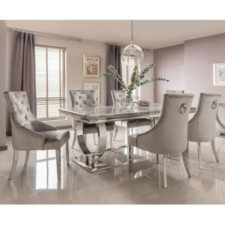 velvet dining room chairs uk ikea tullsta chair covers arianna grey marble rectangle table 200cm with 6 in bun ari 200 gy 70611