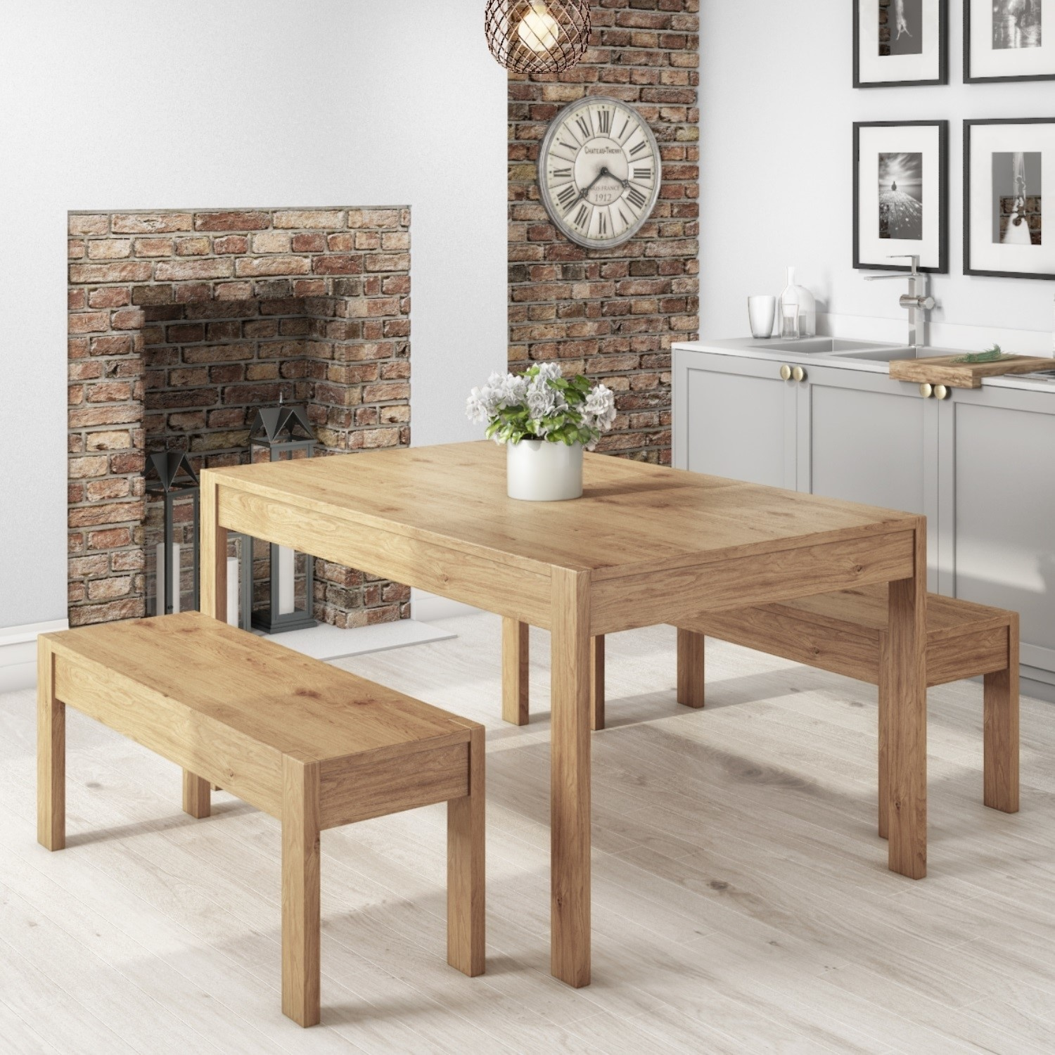 Emerson Solid Pine Rectangle Dining Table With 2 Dining Benches Furniture123