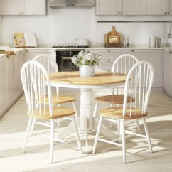 White Round Dining Table And 4 Chairs