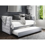Sacha Velvet Sofa Bed In Silver Grey Trundle Bed Included Furniture123