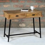 Grade A1 Suri Industrial Console Table In Mango Wood Black Metal 2 Drawers Furniture123