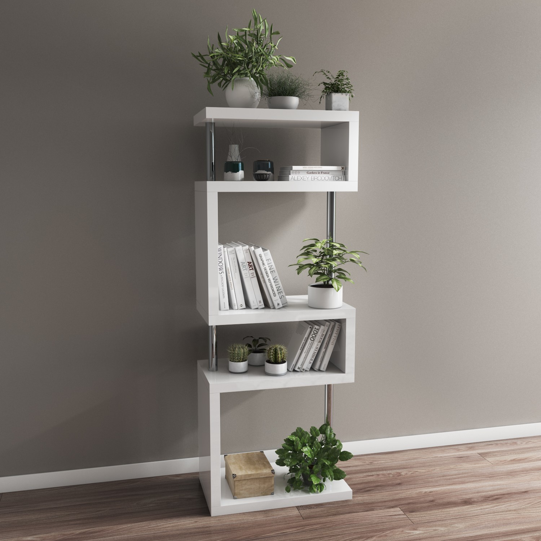 Artemis White High Gloss Bookcase With Geometric Shelf Design