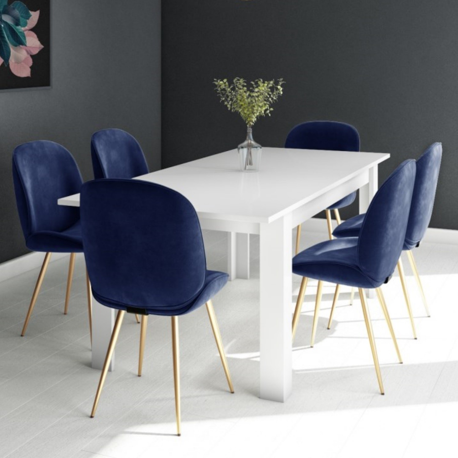 White Extendable Dining Table With 6 Gold Blue Velvet Chairs Vivienne Jenna Furniture123