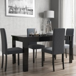 Black Table And Chairs Boat Captain Chair Vivienne Extendable High Gloss Dining 4 Slate Grey View Larger Image