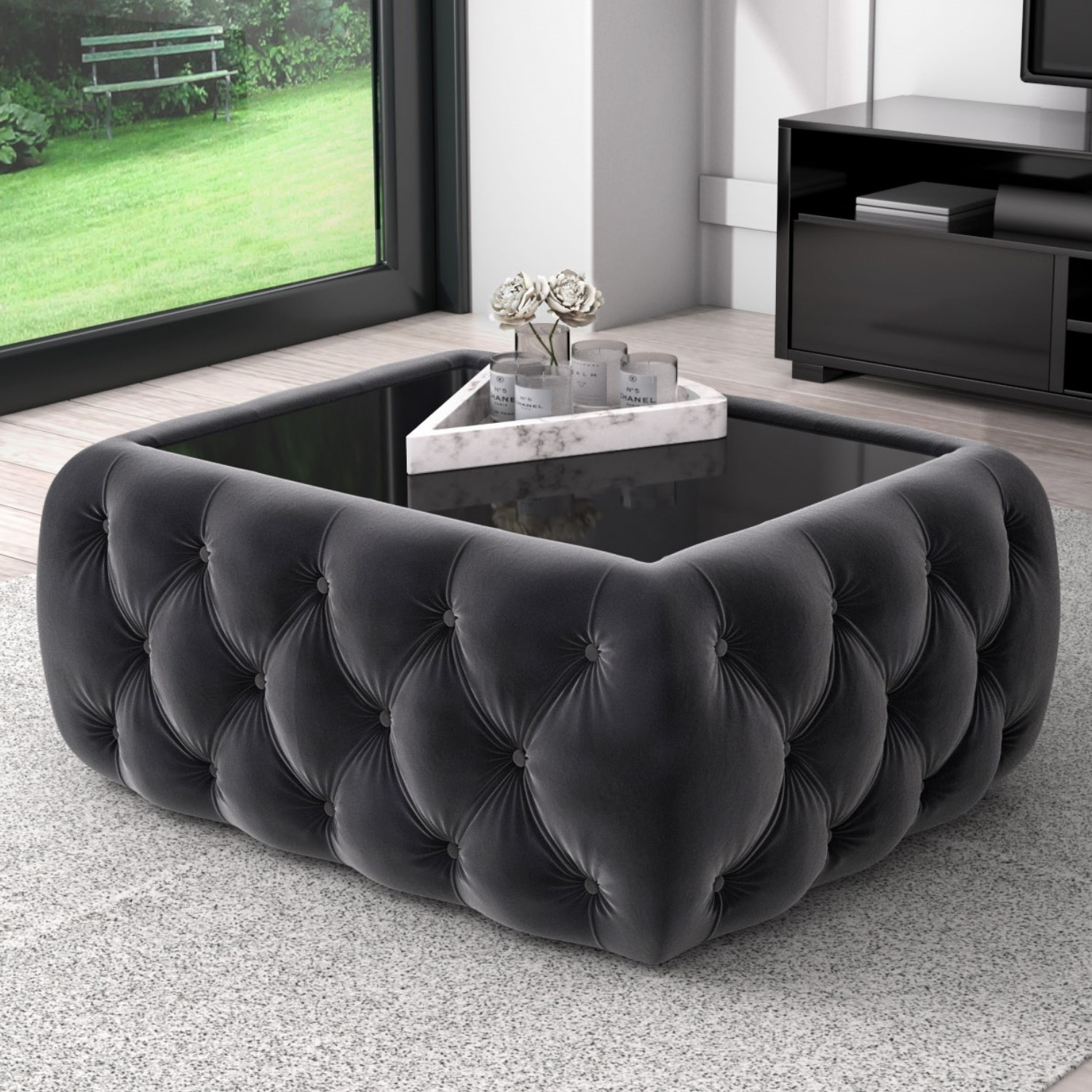 dark grey velvet storage coffee table with glass top buttoned clio