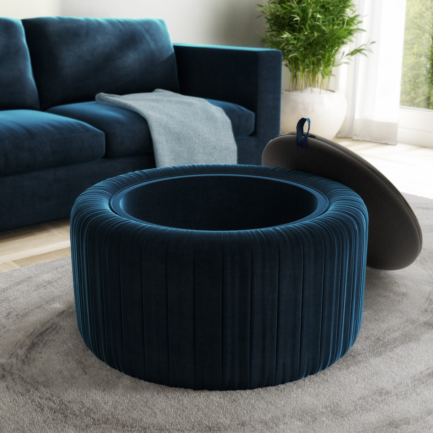 navy blue velvet ottoman storage pouffe with glass top coffee table clio