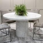 Vida Living Carra Marble Round Dining Table In Bone White Furniture123