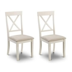Dining Chairs Uk Office Chair For Bad Back Furniture123 Davenport Ivory Pair Of Wooden With Fabric Seats Julian Bowen Range