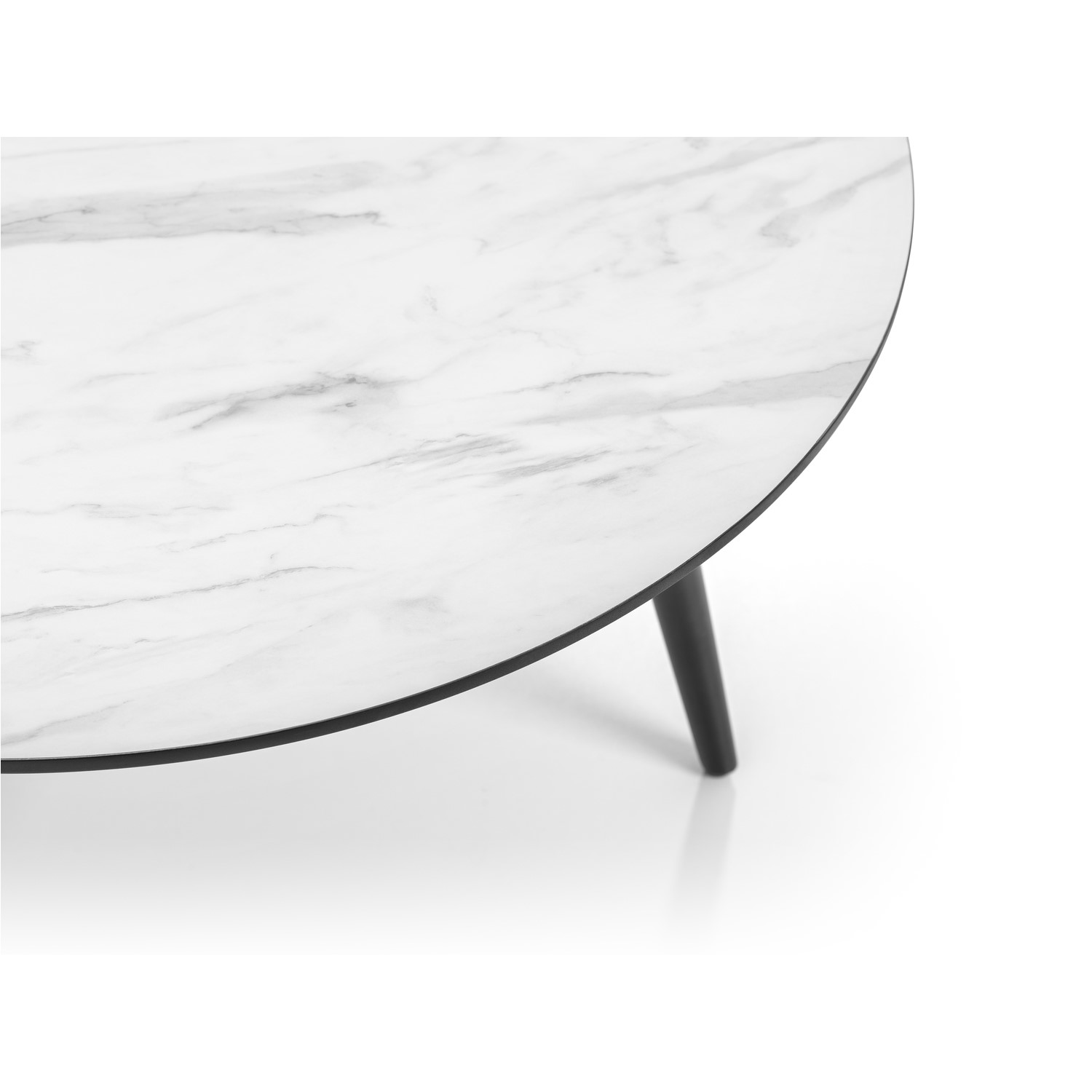 round coffee table with faux marble top black base julian bowen firenze