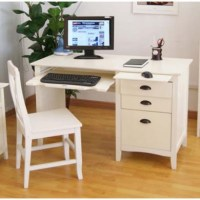 Maine White Computer Desk and Chair Set | Furniture123