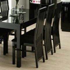 Living Room Furniture Black Gloss Tiles For Walls Zone Dazzle High Slat Back Dining Chair Furniture123 Fol069822