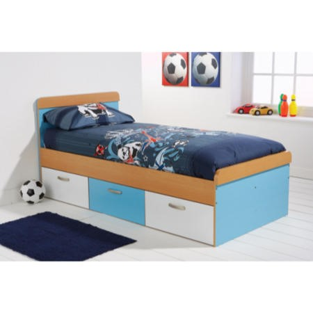 mountrose athena boys single bed frame in blue and white