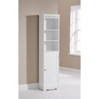 Mountrose Scroll Tall Bathroom Cabinet in White | Furniture123