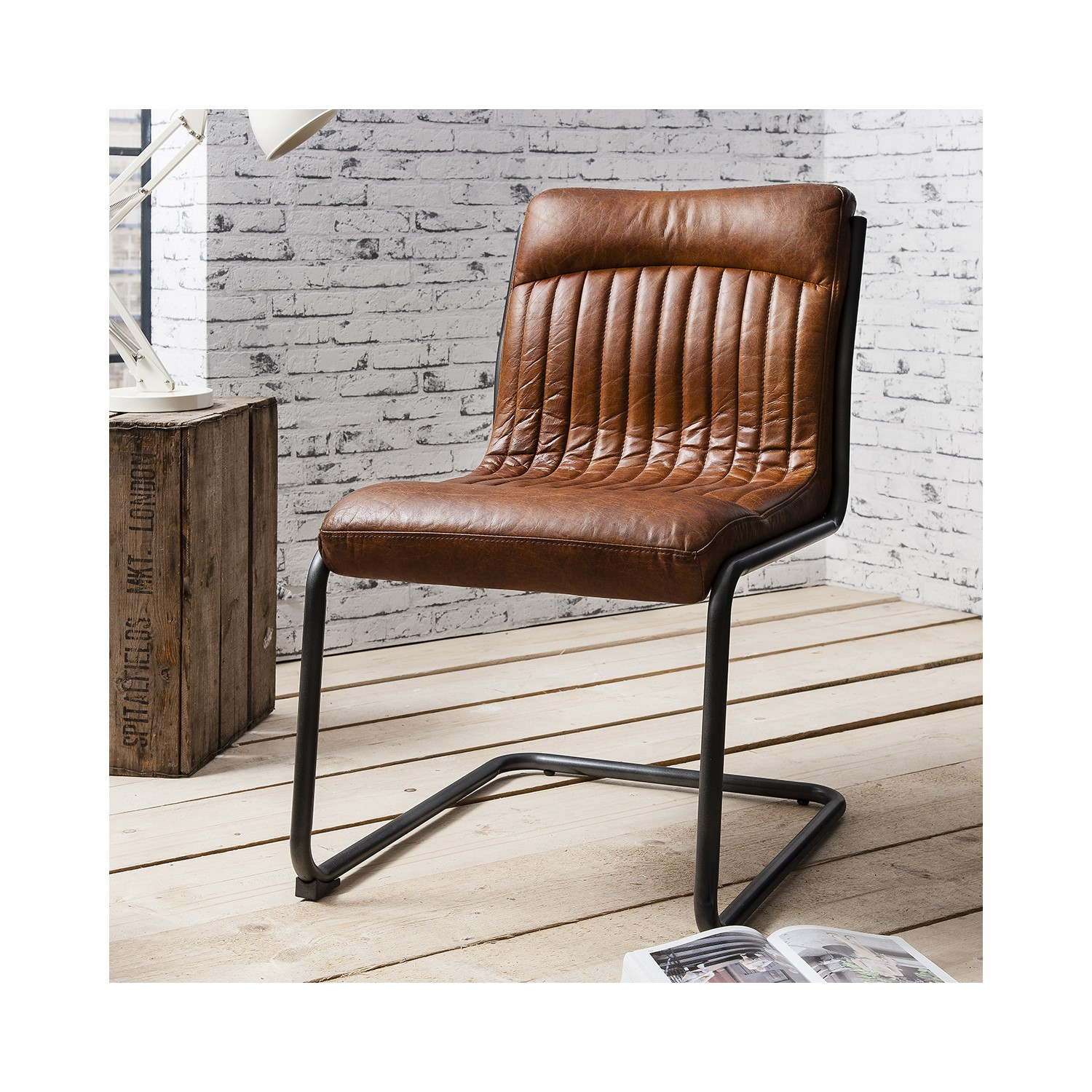 genuine leather chair reclining beach chairs portable uk capri industrial dining in antique tan fol100085