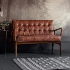 Genuine Leather Sofa Uk Reclining Sectional Sofas For Small Es Gallery Humber Brown 2 Seater Tufted Detailing Bun Fol100358 70522