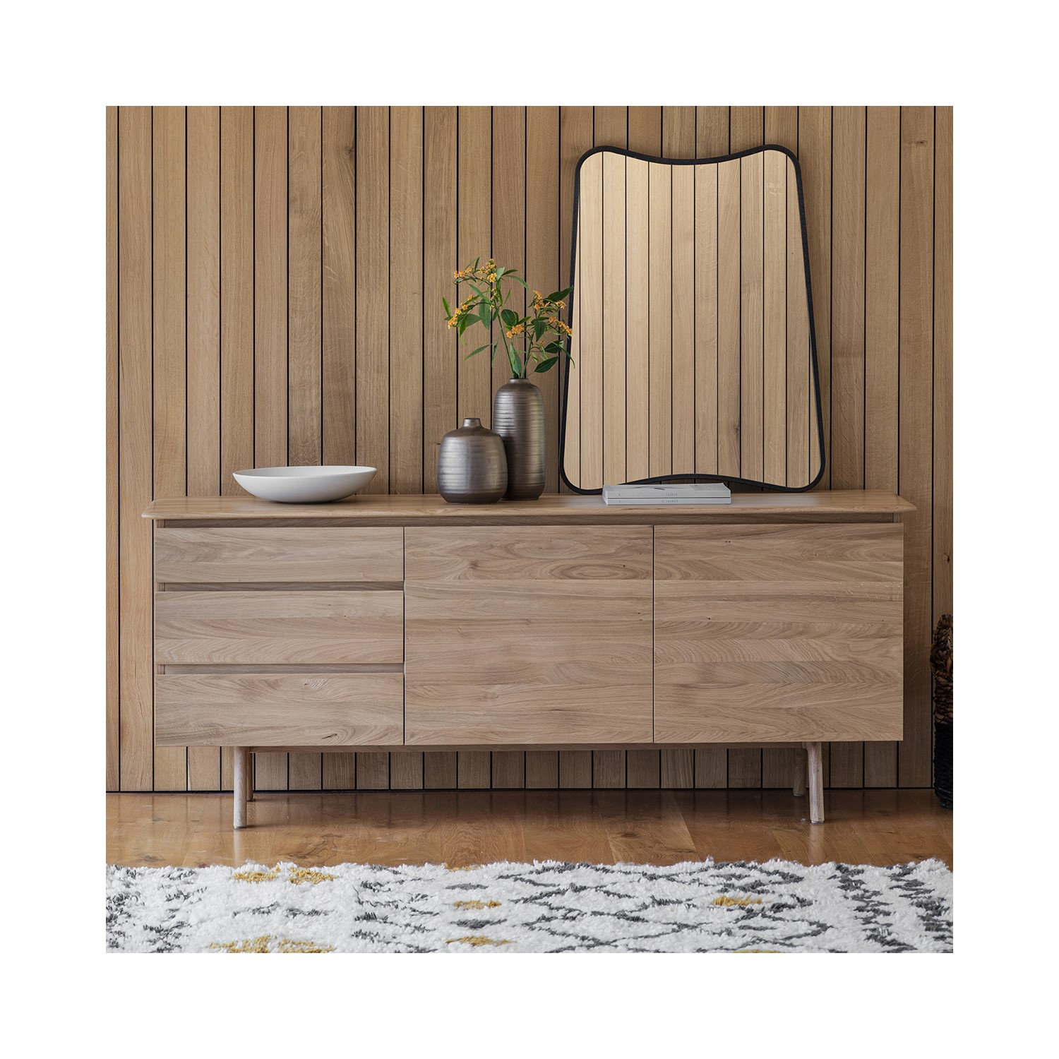 Sideboard Modern Oak Sideboard With Storage - Modern - Caspian House | Furniture123