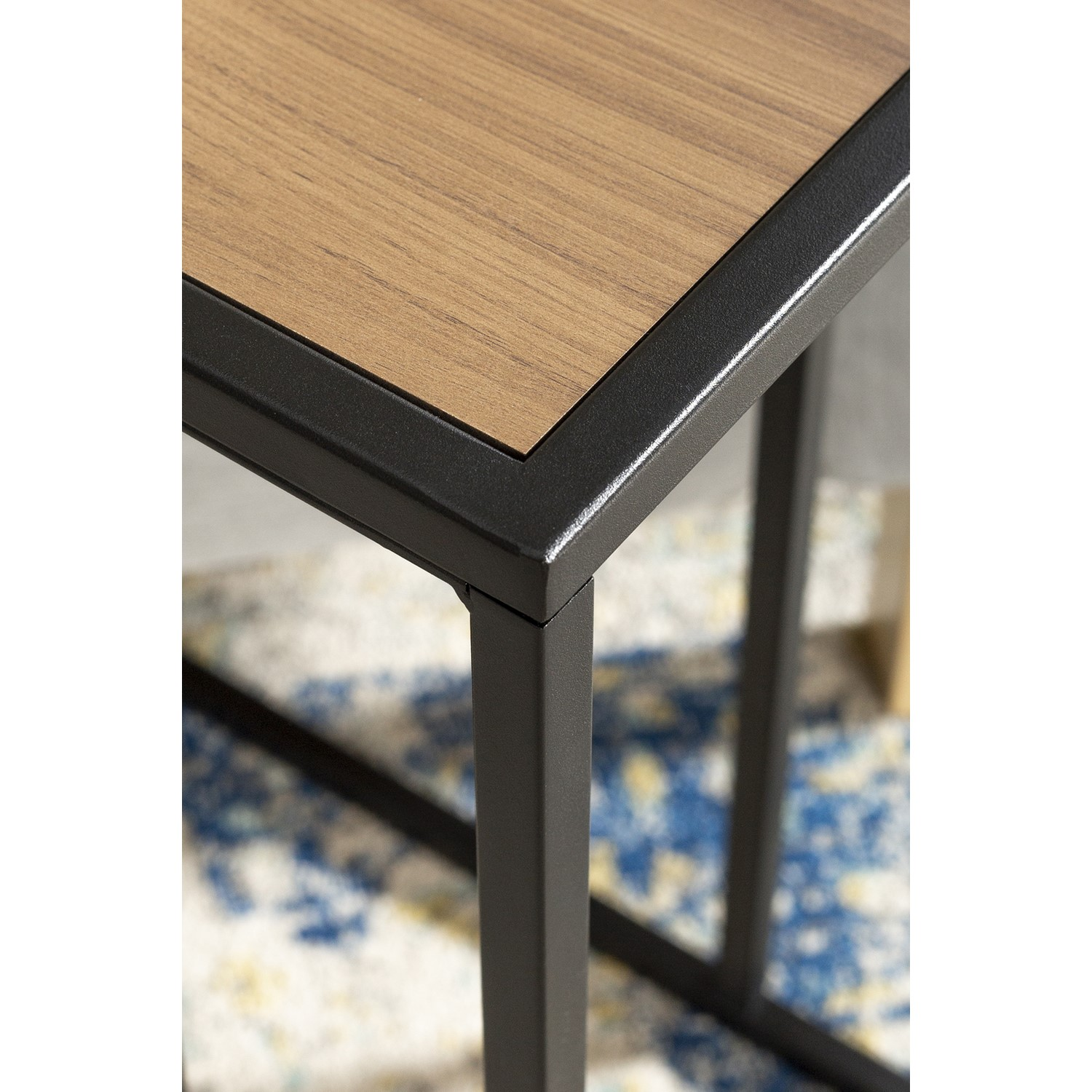 foster wooden side table with light wood top metal legs
