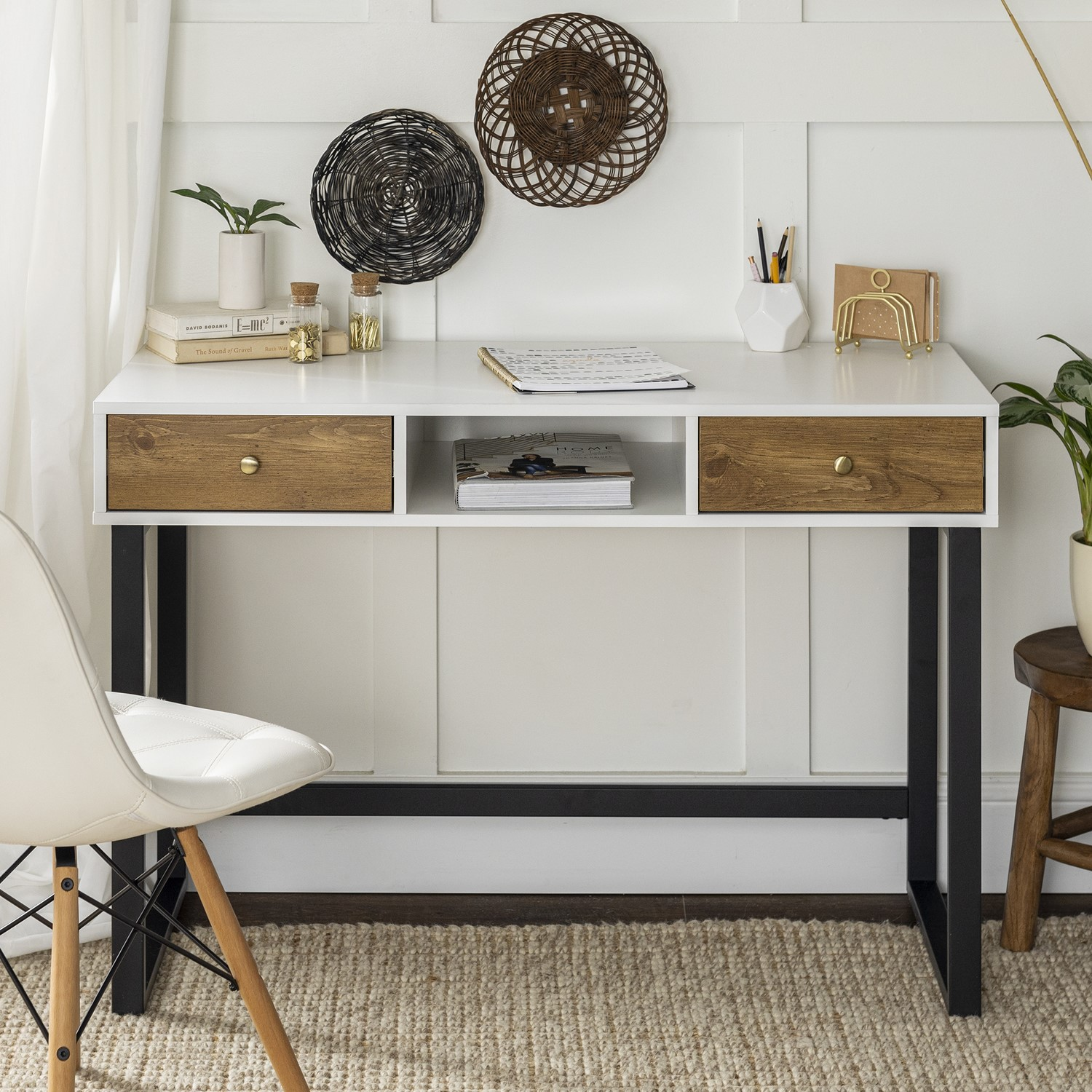 """Industrial White & Wood Office Desk   44""""   Furniture123"""