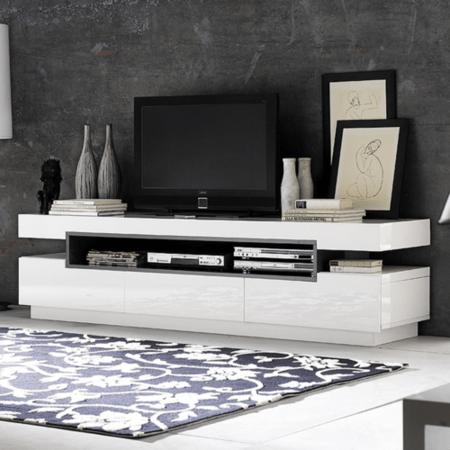 Evoque Rectangular High Gloss White TV Unit With Grey High