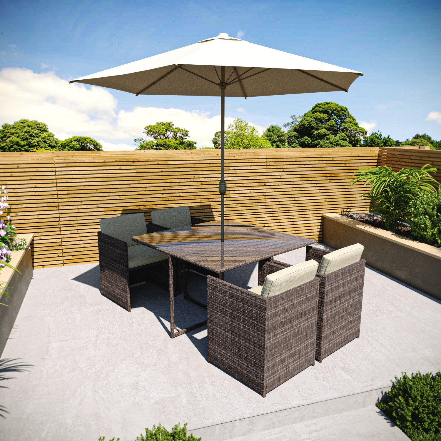 brown rattan cube dining set 6 piece with parasol