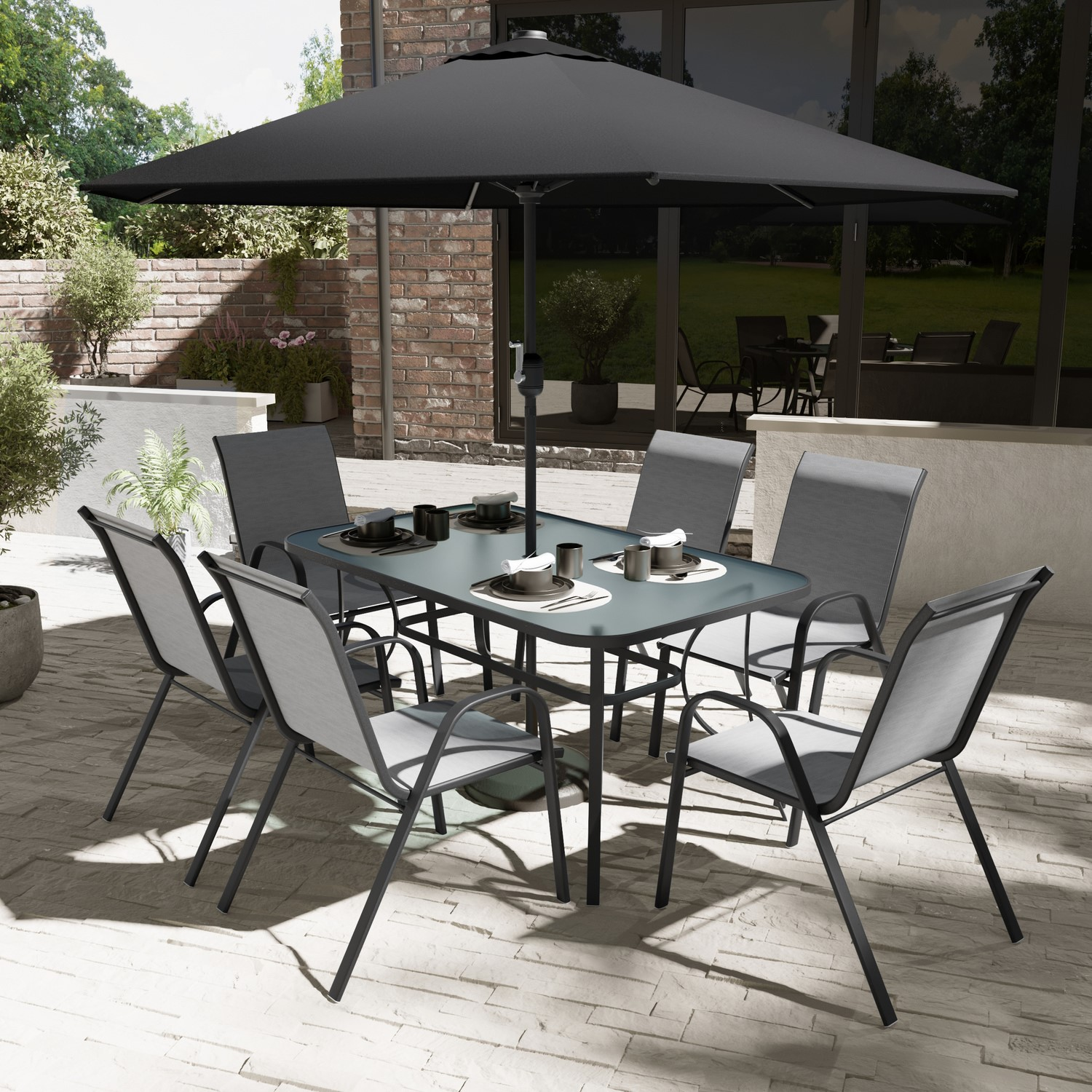6 seater outdoor dining set with parasol grey and black